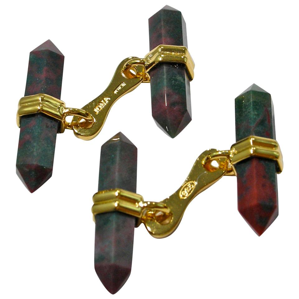 Jona design collection jasper prism bars cufflinks mounted in gold plate sterling silver. The silver cufflinks are