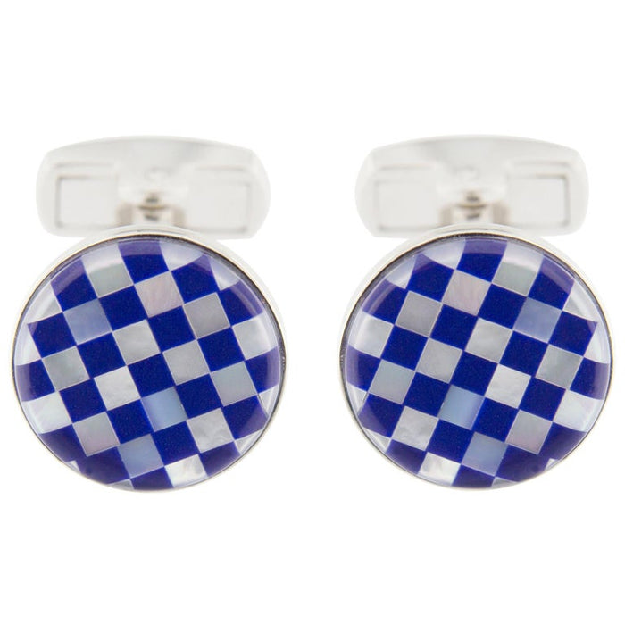 Lapis Lazuli Mother of Pearl Sterling Silver Cufflinks