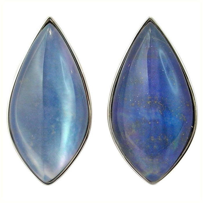 Lapis Lazuli Quartz Mother of Pearl 18 Karat White Gold Stud Earrings