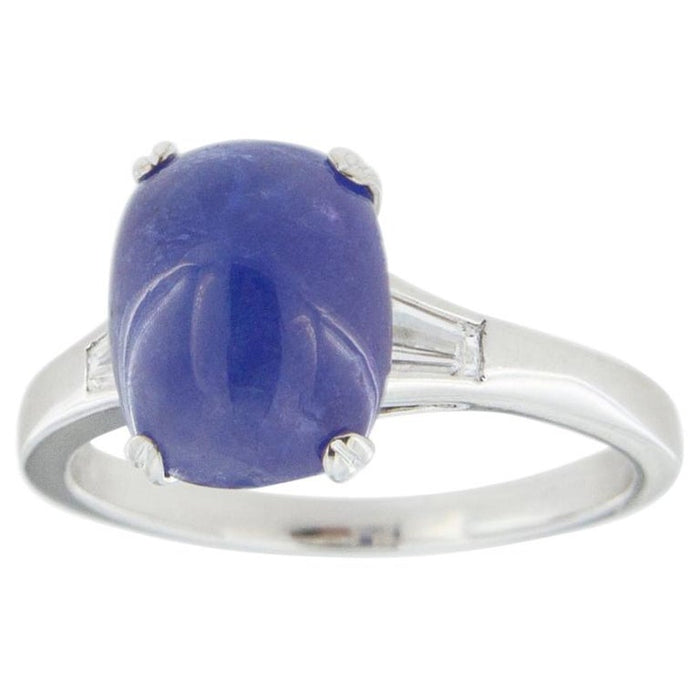 Cabochon Tanzanite White Diamond 18 Karat White Gold Solitaire Ring