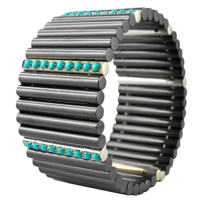 Jona Ceramic Turquoise White Gold Cuff Flexible Bangle Bracelet In New Condition For Sale In Torino IT