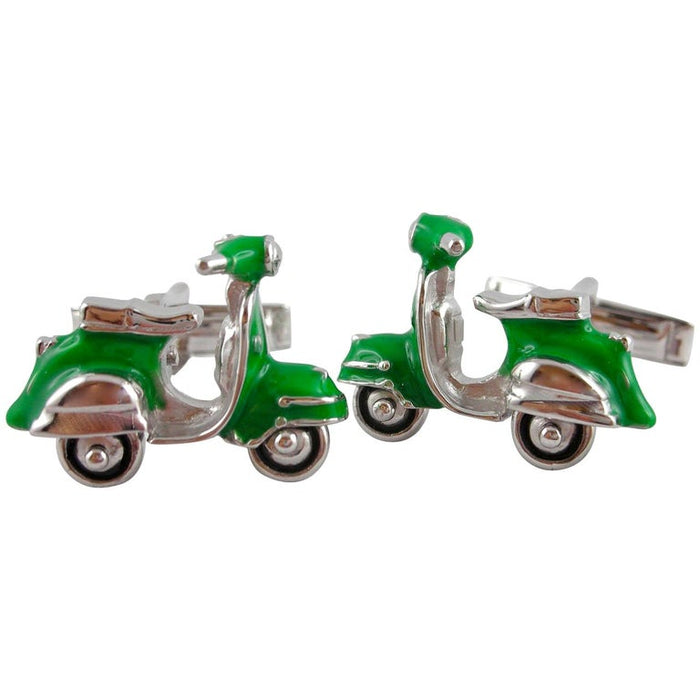 Green Enamel Silver Scooter Cufflinks