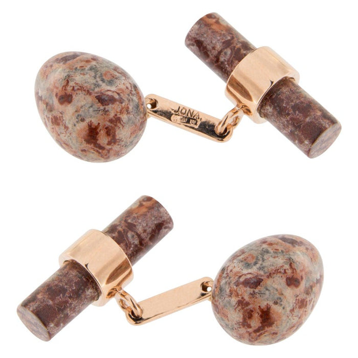Jasper Egg 18 Karat Rose Gold Cufflinks