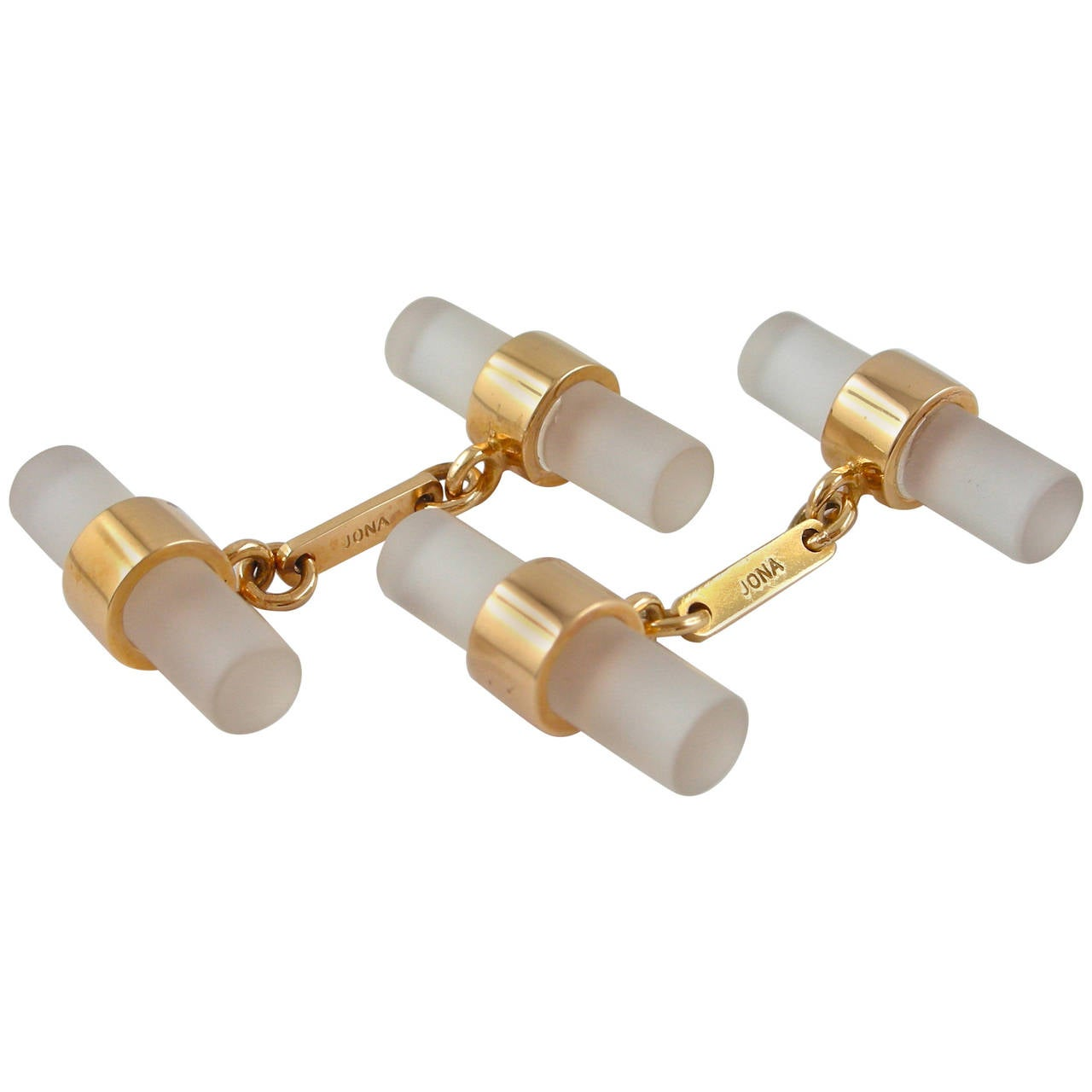 Rock Crystal 18 karat rose gold bar cufflinks designed by Jona and hand made in Italy. Marked Jona. Measurements: 2043 mm x 740 mm (each bar). All Jona jewelry is new and has never been previously owned or worn. Each item will arrive at your door