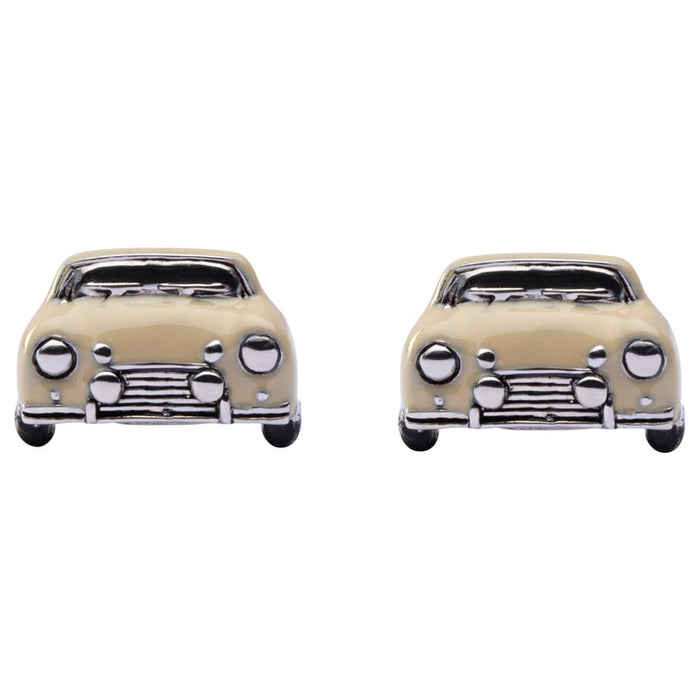 Sterling Silver Beige Enamel Classic Mini Car Cufflinks