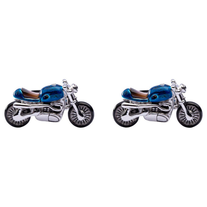 Sterling Silver Blue Enamel Mother of Pearl Motorcycle Cufflinks