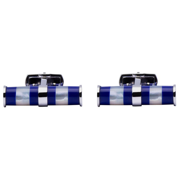 Mother of Pearl Lapis Bar Sterling Silver Cufflinks