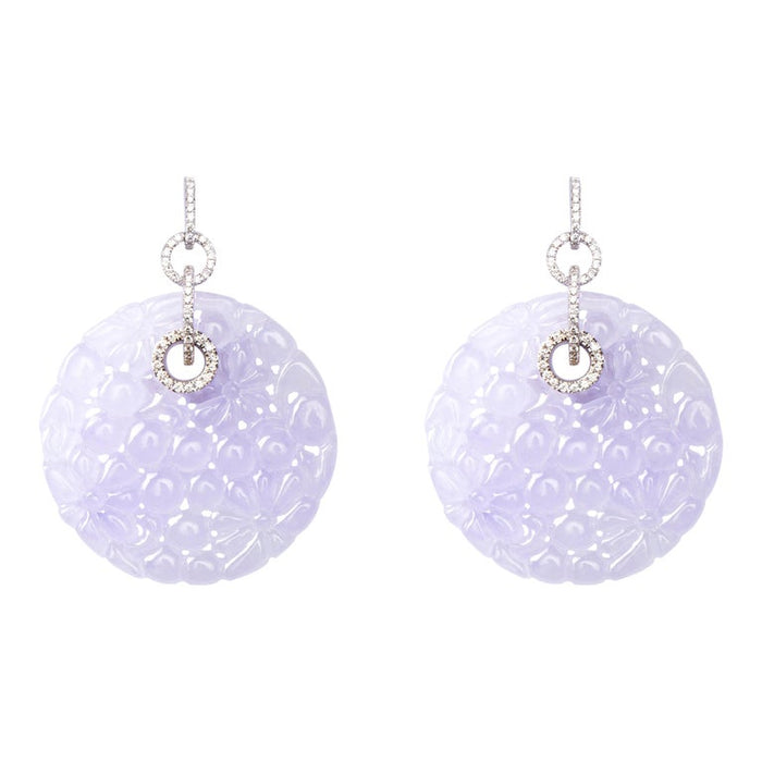 Lavender Jadeite Jade 18 Karat White Gold White Diamond Dangle Earrings