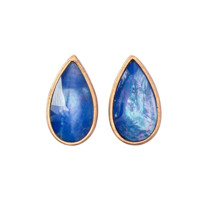 Lapis Quartz Mother of Pearl 18 Karat Rose Gold Earrings