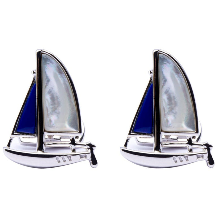 Sterling Silver Mother of Pearl Lapis Sail Boat Cufflinks