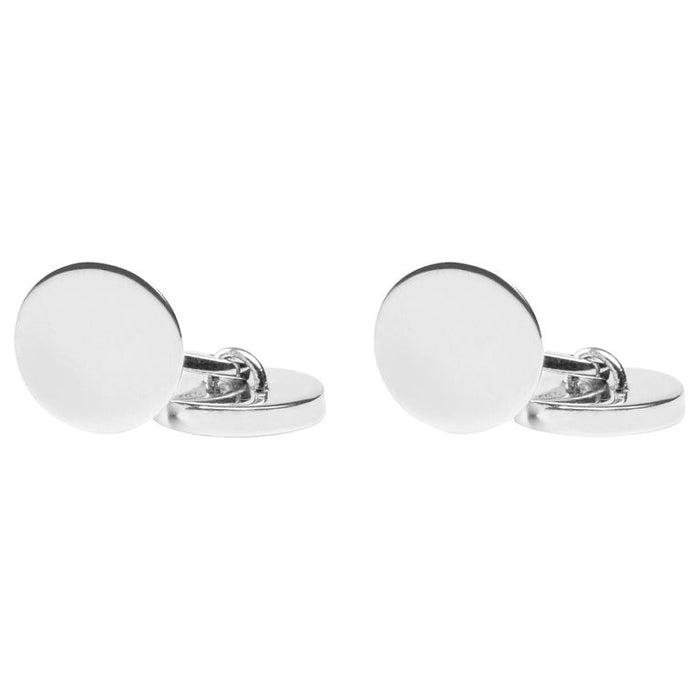 Sterling Silver Round Plain Cufflinks