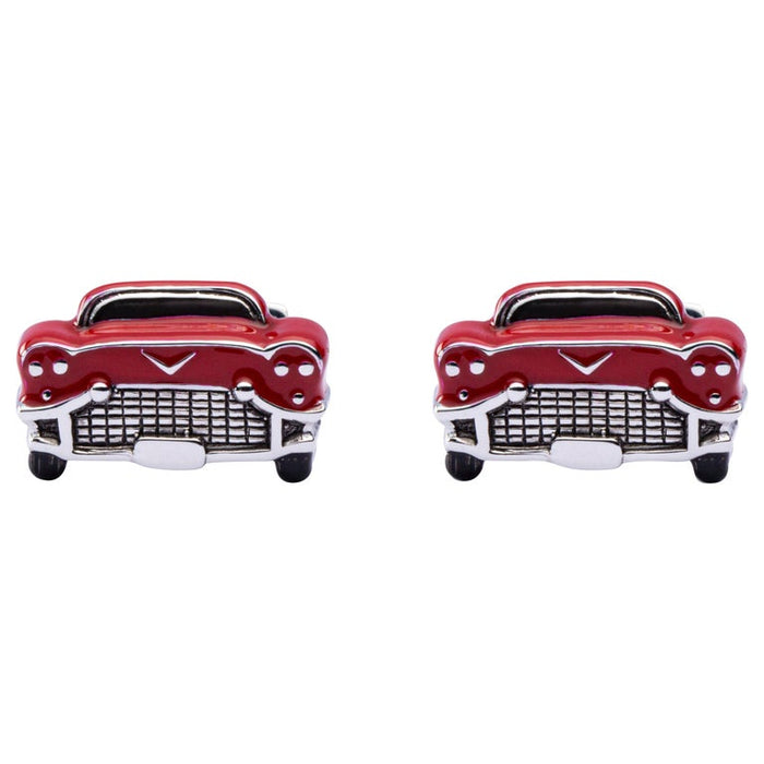 Sterling Silver Red Enamel Chevrolet Car Cufflinks