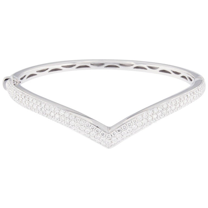 White Diamond PaveÌ 18 Karat White Gold Bangle Bracelet