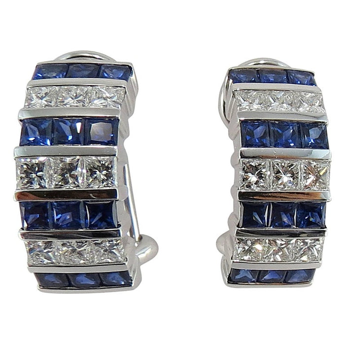 Blue Sapphire White Diamond 18 White Gold Clip-On Earrings