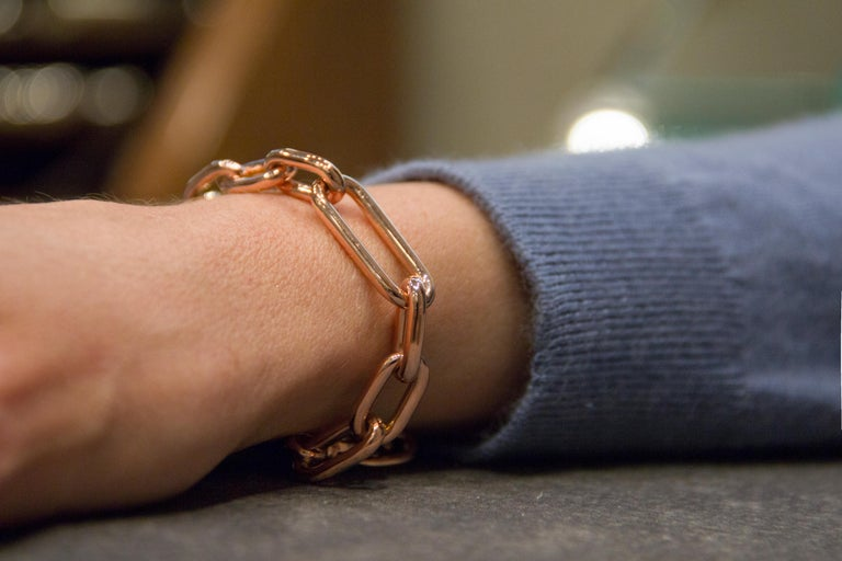 Jona design collection hand crafted in Italy 18 karat rose gold chain bracelet. Dimension: L 8 in X W 0.12 in - L 20.5 cm X W 3.06 mm Weight 17.3 gr All Jona jewelry is new and has never been previously owned or worn. Each item will arrive at your