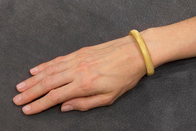 Jona design collection hand crafted in Italy twisted wire gold plated sterling silver  bracelet. Marked Jona. Dimensions: Diameter 2.23 in x 0.37 in. W x 0.23 in. D - Diameter 56.76 mm x 9.60 mm W x 5.67 mm. D All Jona jewelry is new and has never
