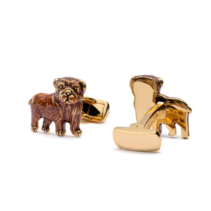 Jona Sterling Silver Pug Dog Cufflinks with Enamel In New Condition For Sale In Torino IT