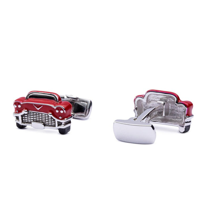 Jona Sterling Silver Red Enamel Chevrolet Car Cufflinks In New Condition For Sale In Torino IT