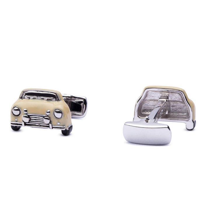 Jona Sterling Silver Beige Enamel Classic Mini Car Cufflinks In New Condition For Sale In Torino IT