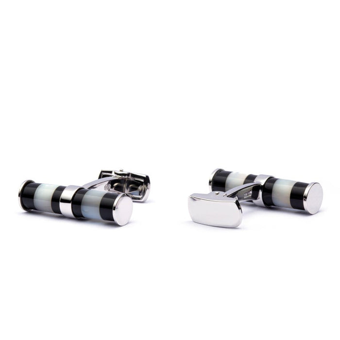 Mother of Pearl Onyx Bar Sterling Silver Cufflinks