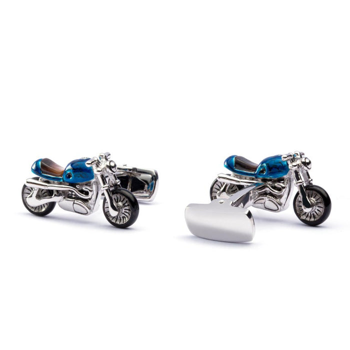 Jona Sterling Silver Blue Enamel Mother of Pearl Motorcycle Cufflinks In New Condition For Sale In Torino IT