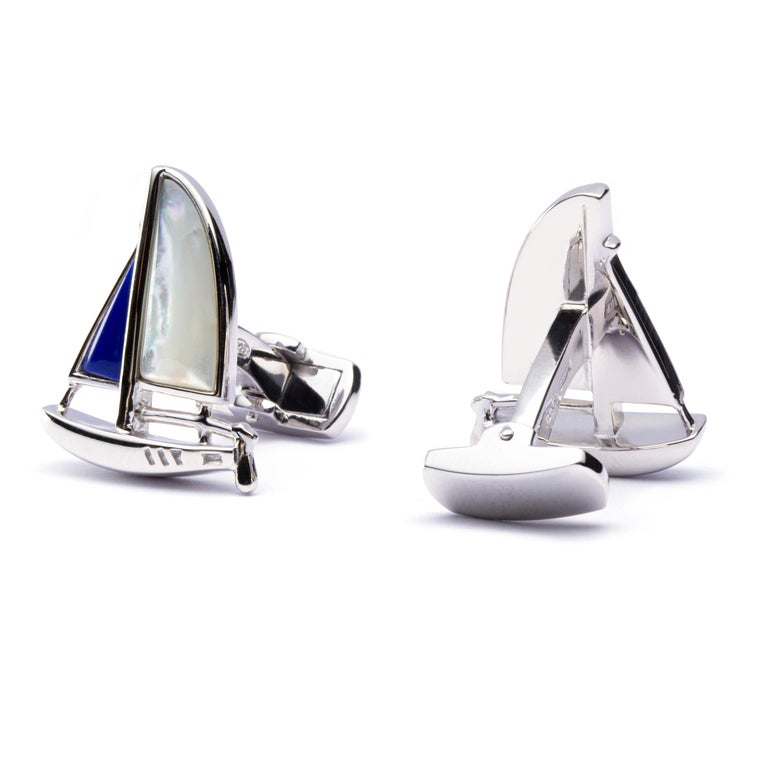 Jona Sterling Silver Mother of Pearl Lapis Sail Boat Cufflinks In New Condition For Sale In Torino IT