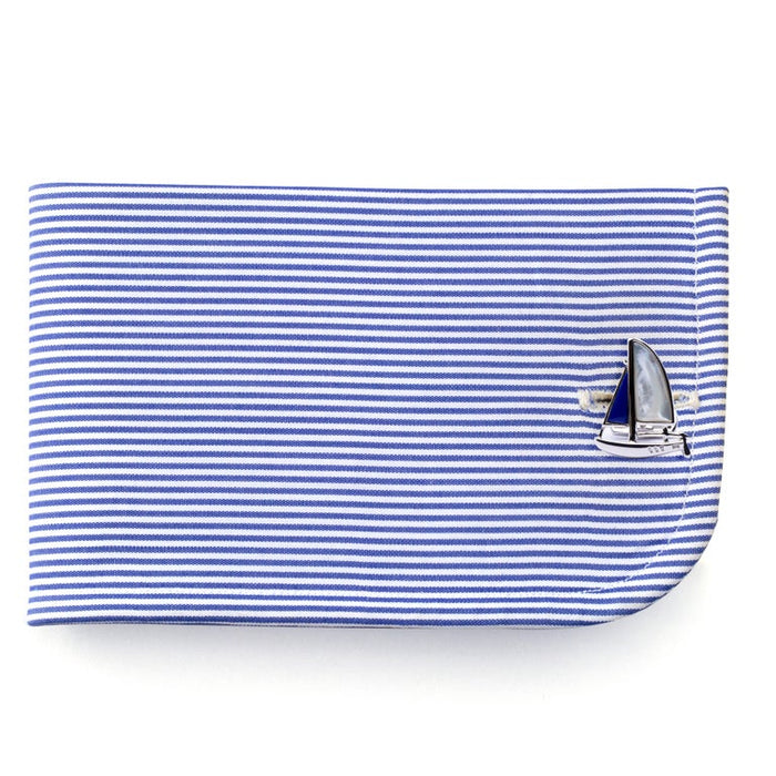 Jona design collection hand crafted in Italy Sterling silver sail boat cufflinks with mother of pearl and lapis.   Dimensions: W x 0.68 in / W x 17.27 mm - H x 0.86 in / H x 21.84 mm. All Jona jewelry is new and has never been previously owned or
