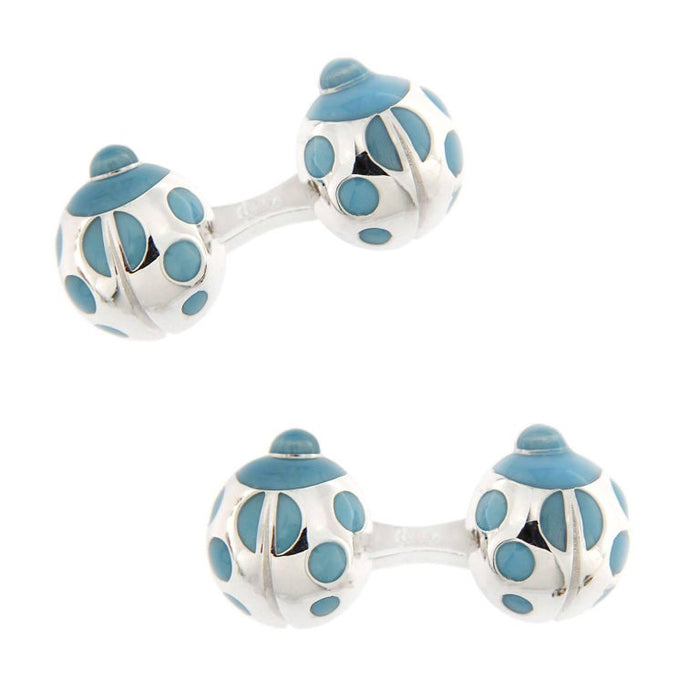 Jona Sterling Silver Turquoise Enamel Ladybug Cufflinks In New Condition For Sale In Torino IT
