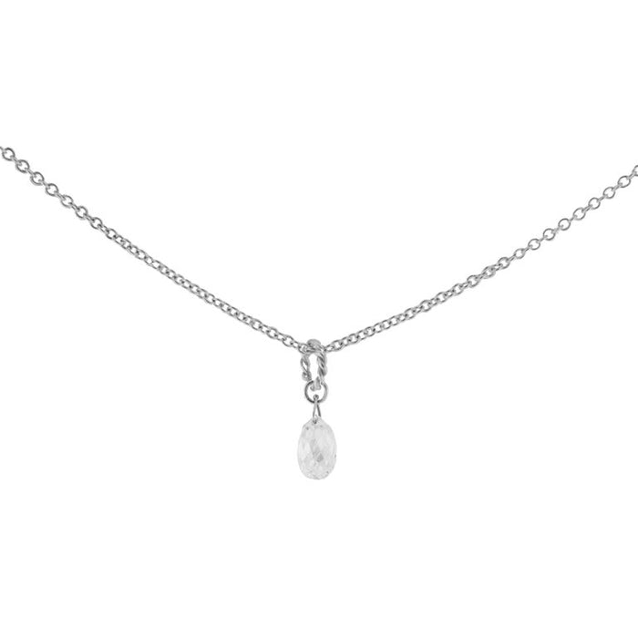 Jona Briolette White Diamond Drop 18 Karat White Gold Pendant Necklace In New Condition For Sale In Torino IT