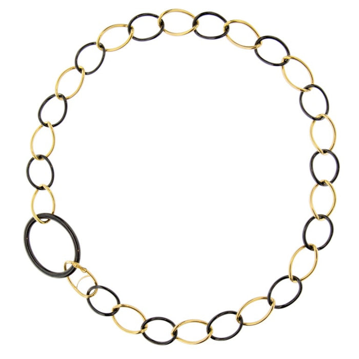 High-Tech Black Ceramic Yellow Gold Curb-Link Necklace