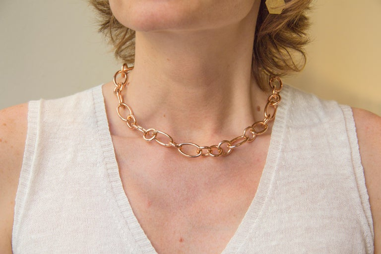 Jona Design Collection Hand crafted in Italy 18 karat Rose gold 17.7 inch-45cm long link chain necklace. All Jona jewelry is new and has never been previously owned or worn. Each item will arrive at your door beautifully gift wrapped in Jona