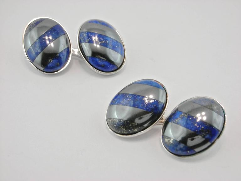 Jona Sterling Silver Hematite and Lapis Lazuli Cufflinks In New Condition For Sale In Torino IT