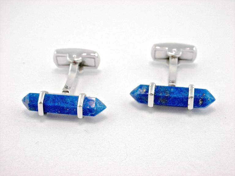 Jona Lapis Lazuli Sterling Silver Cufflinks In New Condition For Sale In Torino IT