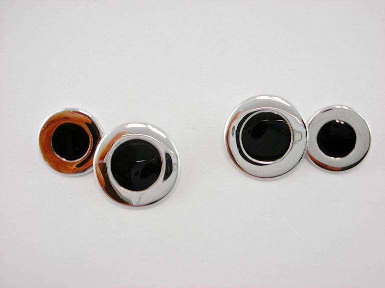 Jona Sterling Silver Black Enamel Cufflinks In New Condition For Sale In Torino IT