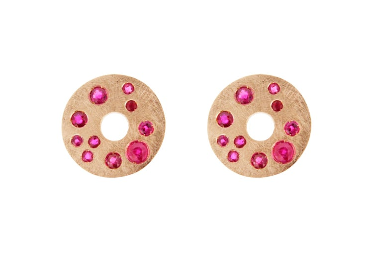 Jona Ruby 18 Karat  Brushed Pink Gold Stud Earrings In New Condition For Sale In Torino IT