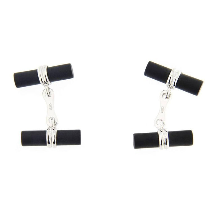 Jona design collection Onyx cylinder cufflinks mounted in 925/°°° sterling silver Rhodium Plated. Marked JONA 925. Measurements: 19.2mm x 5.4mm (each cylinder).   All Jona jewelry is new and has never been previously owned or worn. Each item will