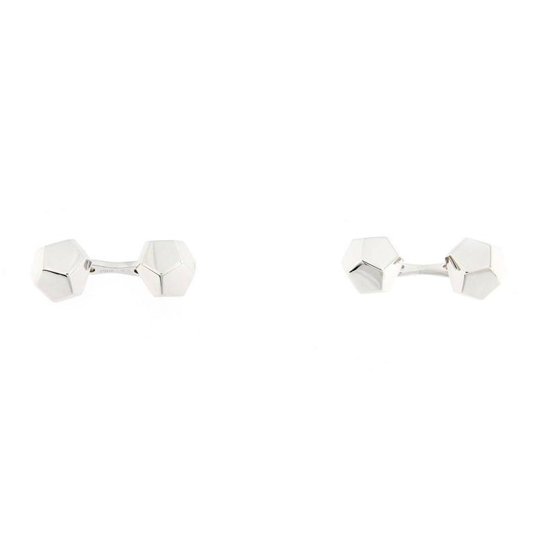 Jona Geometric Sterling Silver Cufflinks In New Condition For Sale In Torino IT