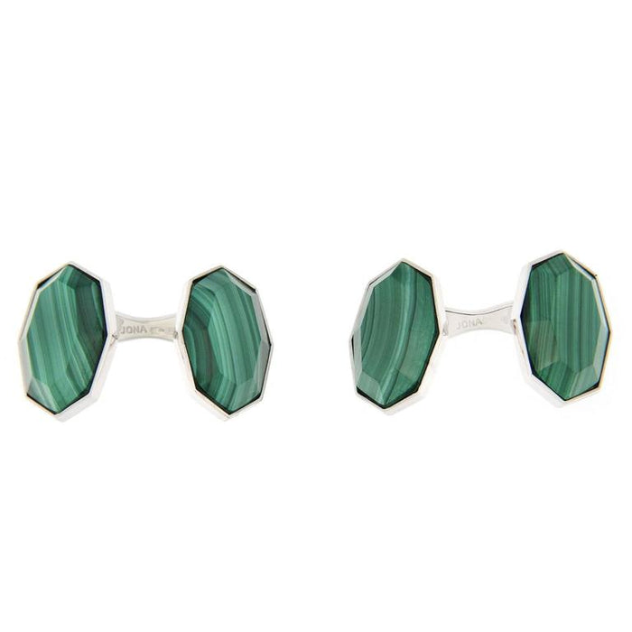 Jona design collection crafted in Italy rhodium plated sterling silver faceted Malachite cufflinks. Marked Jona 925.     All Jona jewelry is new and has never been previously owned or worn. Each item will arrive at your door beautifully gift