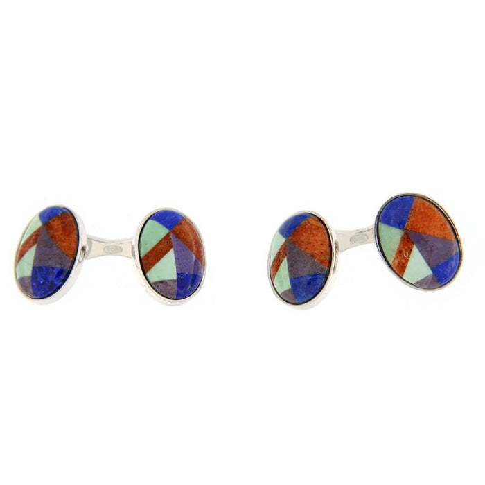 Jona design collection crafted in Italy rhodium plated sterling silver modernist Lapis Lazuli Carnelian Chrysoprase and Agate cufflinks. Marked Jona 925.   All Jona jewelry is new and has never been previously owned or worn. Each item will