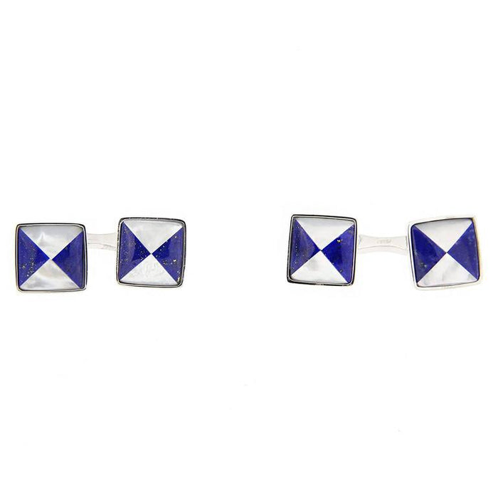 Lapis Lazuli and Mother-of-Pearl Sterling Silver Cufflinks