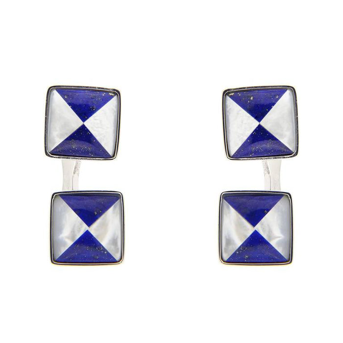 Jona design collection hand crafted in Italy rhodium plated sterling silver Lapis Lazuli and Mother of Pearl cufflinks. Marked Jona 925.  All Jona jewelry is new and has never been previously owned or worn. Each item will arrive at your door