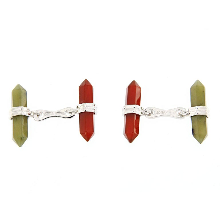 Jona design collection crafted in Italy sterling silver Moss Agate and Carnelian prism bar cufflinks. Marked Jona 925. Also available mounted in 18k gold. Measurements: 0.19 inch-21.83mm x 0.86inch-8.03mm (each bar). All Jona jewelry is new and