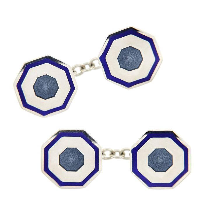 Jona design collection hand crafted in Italy octagonal sterling silver cufflinks with blue and light blue enamel.  All Jona jewelry is new and has never been previously owned or worn. Each item will arrive at your door beautifully gift wrapped