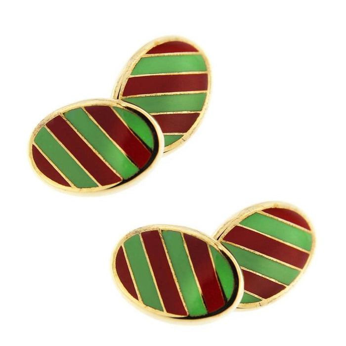 Sterling Silver Gold-Plated Green and Red Stripe Enamel Cufflinks