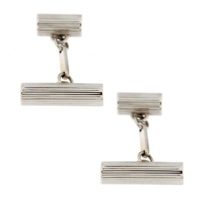 18 Karat White Gold Engraved Cylinder Cufflinks
