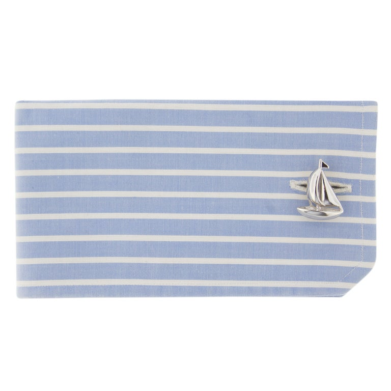 Jona design collection hand crafted in Italy Sterling silver sail boat cufflinks with toggle back.   All Jona jewelry is new and has never been previously owned or worn. Each item will arrive at your door beautifully gift wrapped in Jona boxes