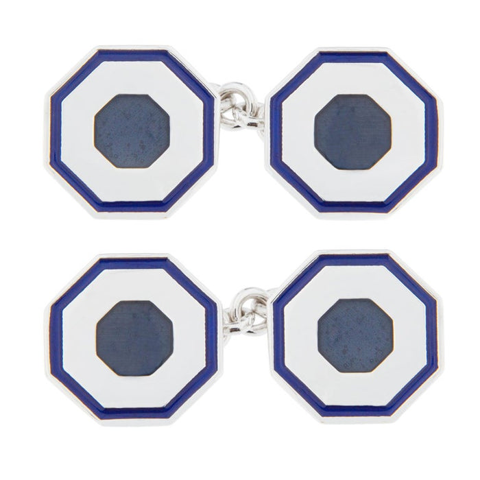 Blue Grey Enamel Sterling Silver Cufflinks