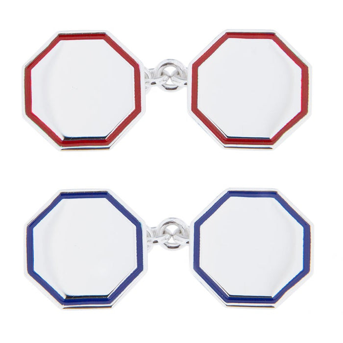 Blue Red Enamel Sterling Silver Cufflinks