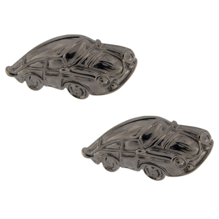 Jona Sterling Silver Porsche Cufflinks Ruthenium-Finish In New Condition For Sale In Torino IT