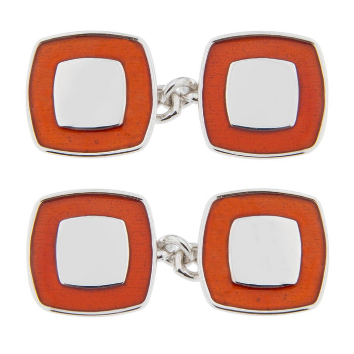 Red Enamel Sterling Silver Cufflinks